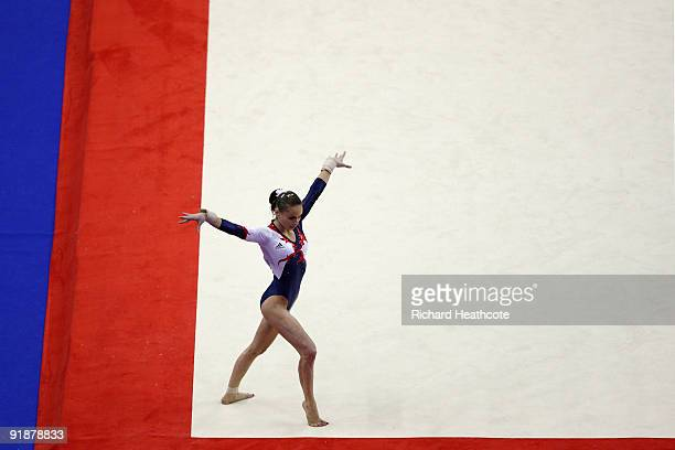 Pauline Morel of France competes in the floor exercise during the second day of the Artistic Gymnastics World Championships 2009 at O2 Arena on...