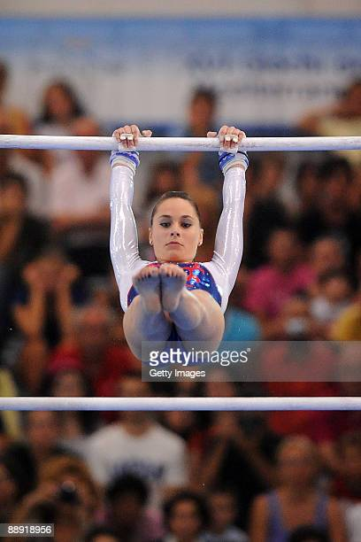 Pauline Morel of France competes in women's Uneven Bars gold medal final event during XVI Mediterranean Games at Pala Universo on July 2 2009 in...