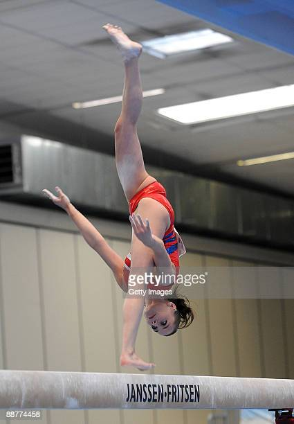 Pauline Morel of France in action on the beam during Women's Individual AllAround Final at the XVI Mediterranean Games on July 1 2009 in Silvi Marina...