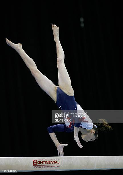 Pauline Morel of France performs on the beam during the Senior women's qualification round of the European Artistic Gymnastics Team Championships...