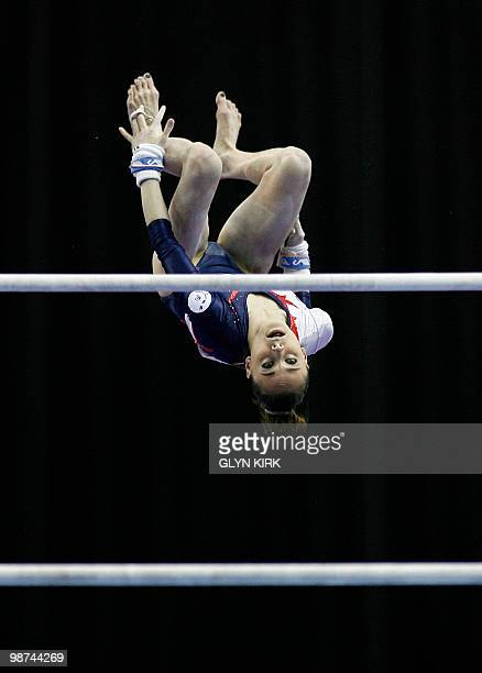 Pauline Morel of France performs on the Uneven Bars during the Senior Women's qualification round European Artistic Gymnastics Team Championships...