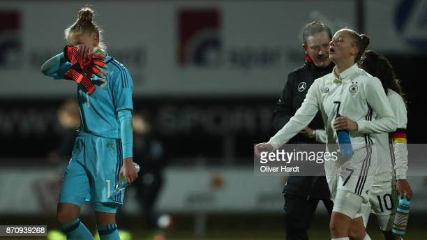 LR Pauline Nelles and Nicole Woldmann of Germany appears frustrated during the U16 Girls international friendly match betwwen Denmark and Germany at...