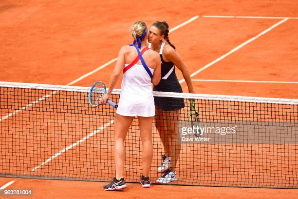 Pauline Parmentier beats Chloe Paquet in an unfinished match from yesterday during Day 2 of the French Open 2018 on May 28 2018 in Paris France
