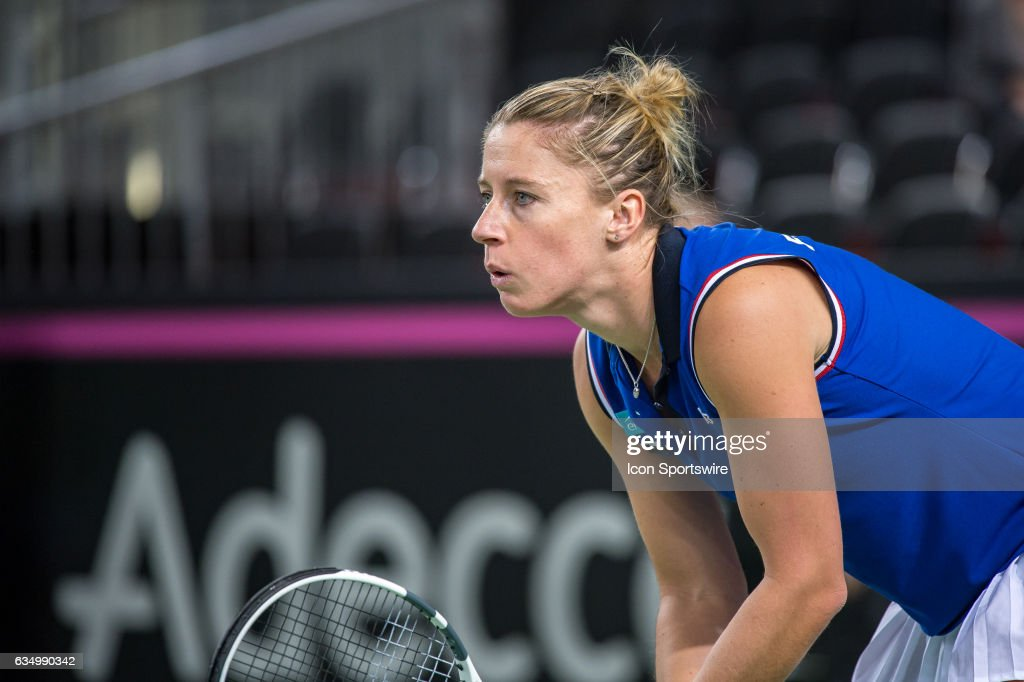 Pauline Parmentier (FRA) loos on during the Fed Cup Round 1 Switzerland against France on February 12, 2017, at Palexpo, Geneva, Switzerland.