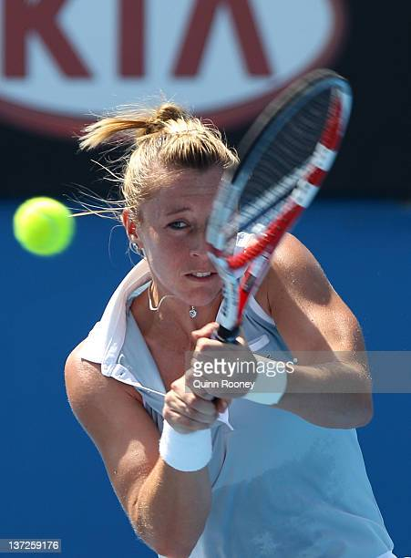 Pauline Parmentier of France plays a forehand in her second round match against Monica Niculescu of Romania during day three of the 2012 Australian...
