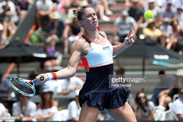 Pauline Parmentier of France plays a forehand shot in her match against Serena Williams of USA on day two of the ASB Classic on January 3 2017 in...