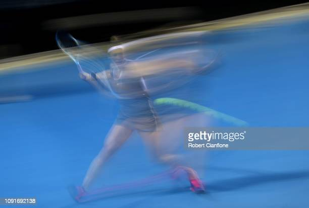 Pauline Parmentier of France plays a shot during her match against Alize Cornet of France during day five of the 2019 Hobart International at Domain...