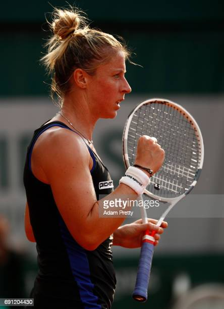 Pauline Parmentier of France reacts during the ladies singles second round match against Carina Witthoeft of Germany on day five of the 2017 French...
