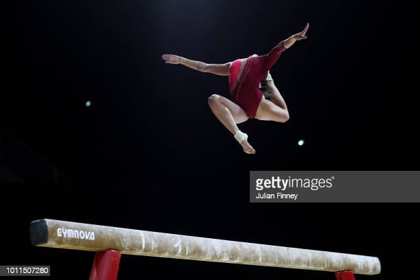 Pauline Schaefer of Germany competes in the Women's Individual Beam Final during the gymnastics on Day Four of the European Championships Glasgow...