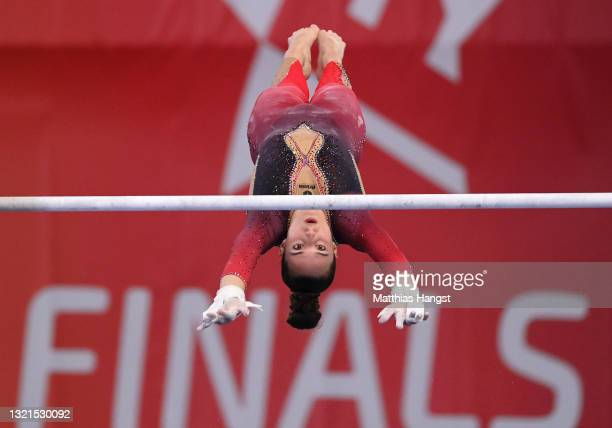 Pauline Schaefer of Germany competes on Uneven Bars during the Women's All-Around Final of the Artistic Gymnastics 'Die Finals 2021' on June 03, 2021...
