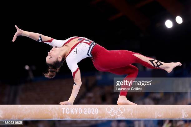 Pauline Schaefer-Betz of Team Germany competes on balance beam during Women's Qualification on day two of the Tokyo 2020 Olympic Games at Ariake...