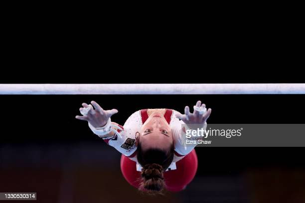 Pauline Schaefer-Betz of Team Germany competes on uneven bars during Women's Qualification on day two of the Tokyo 2020 Olympic Games at Ariake...