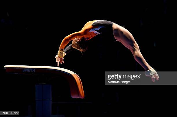Pauline Tratz of TG KarlsruheSoellingen competes in the Vault during the DTL Finals 2015 at Messehalle 2 on December 5 2015 in Karlsruhe Germany