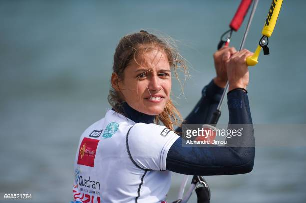 Pauline Valesa of France competes in the WKL Kiteboarding World Cup 2017 freestyle qualifiers on April 14 2017 in Leucate France