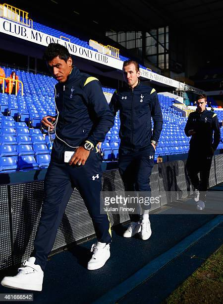 Paulinho and Harry Kane of Tottenham Hotspur arrive for the the Barclays Premier League match between Tottenham Hotspur and Sunderland at White Hart...