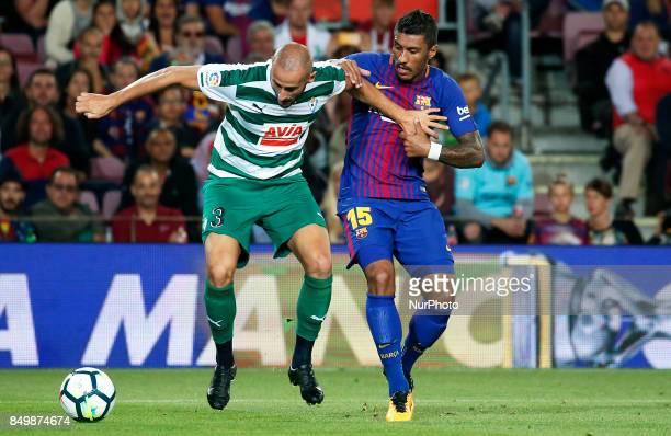 Paulinho Bezerra and Galvez during La Liga match between FC Barcelona v SC Eibar in Barcelona on September 19 2017