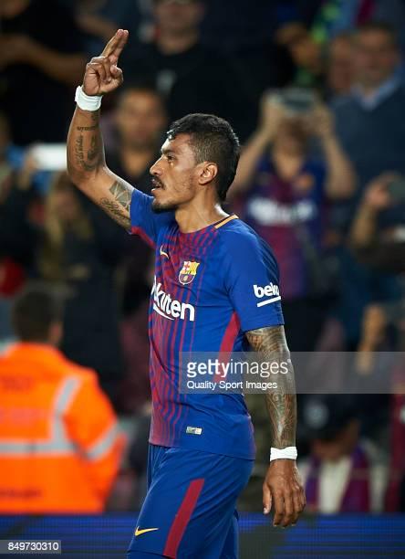 Paulinho Bezerra of Barcelona celebrates after scoring a goal during the La Liga match between Barcelona and Eibar at Camp Nou on September 19 2017...