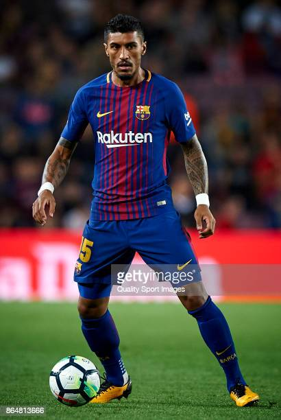 Paulinho Bezerra of Barcelona in action during the La Liga match between Barcelona and Malaga at Camp Nou on October 21 2017 in Barcelona Spain