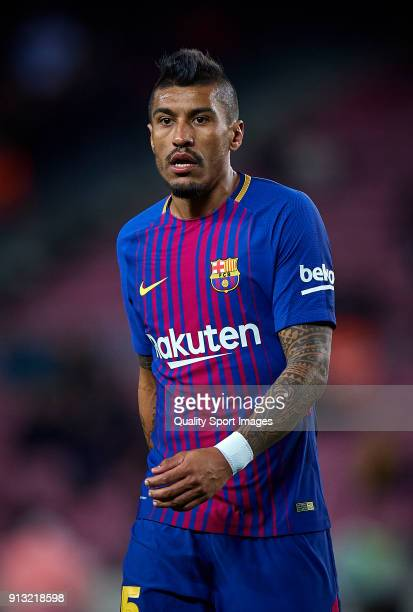 Paulinho Bezerra of Barcelona looks on during the Copa del Rey semifinal first leg match between FC Barcelona and Valencia CF at Camp Nou on February...