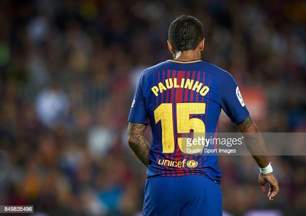 Paulinho Bezerra of Barcelona looks on during the La Liga match between Barcelona and Eibar at Camp Nou on September 19 2017 in Barcelona Spain