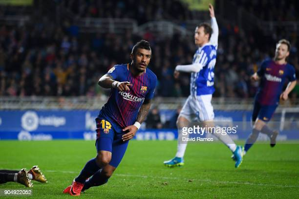 Paulinho Bezerra of FC Barcelona celebrates after scoring his team's first goal during the La Liga match between Real Sociedad and FC Barcelona at...