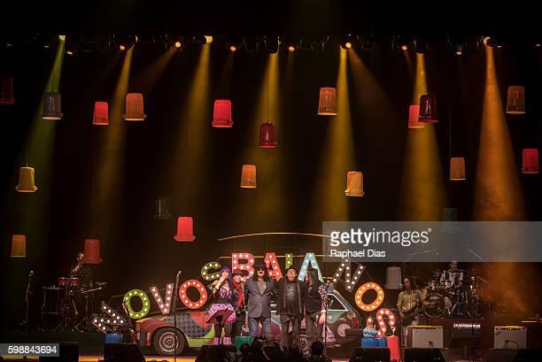 Paulinho Boca de Cantos, Moraes Moreira, Baby do Brasil and Pepeu Gomes from Novos Baianos perform at Metropolitan on September 2, 2016 in Rio de...