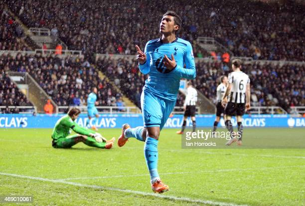 Paulinho celebrates scoring Tottenham's second goal during the Barclays Premier League match between Newcastle United and Tottenham Hotspur at St...