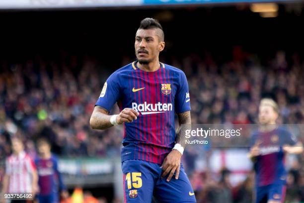 Paulinho during the spanish league match between FC Barcelona and Athletic Club Bilbao at the Camp Nou Stadium in Barcelona Catalonia Spain on March...