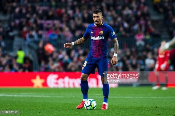 Paulinho from Brasil of FC Barcelona during La Liga match between FC Barcelona v Getafe at Camp Nou Stadium in Barcelona on 11 of February 2018