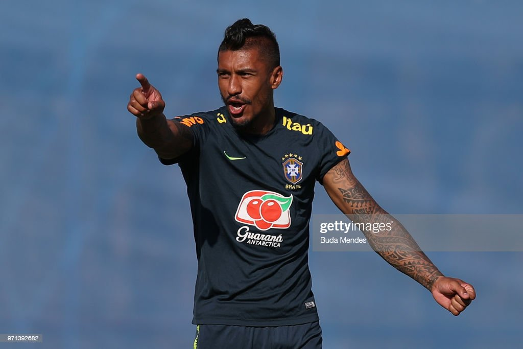 Paulinho gestures during a Brazil training session ahead of the FIFA World Cup 2018 at Yug-Sport Stadium on June 14, 2018 in Sochi, Russia.