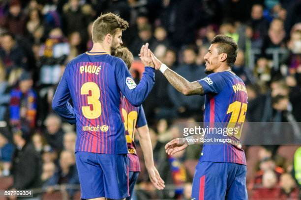 Paulinho Maciel of FC Barcelona celebrating his score with Gerard Pique of FC Barcelona during the La Liga 201718 match between FC Barcelona and...