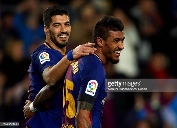 Paulinho of Barcelona celebrates scoring his team's second goal with his teammate Luis Suarez during the La Liga match between Barcelona and...