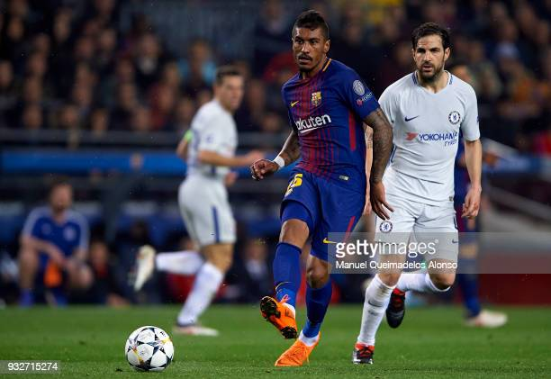 Paulinho of Barcelona drives the ball during the UEFA Champions League Round of 16 Second Leg match between FC Barcelona and Chelsea FC at Camp Nou...