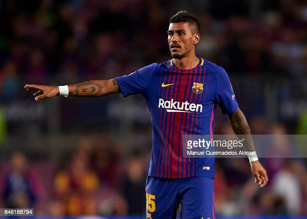 Paulinho of Barcelona gives instructions during the UEFA Champions League group D match between FC Barcelona and Juventus at Camp Nou on September 12...