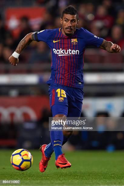 Paulinho of Barcelona in action during the La Liga match between Barcelona and Deportivo de La Coruna at Camp Nou on December 17 2017 in Barcelona...
