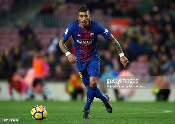 Paulinho of Barcelona in action during the La Liga match between Barcelona and Levante at Camp Nou on January 7 2018 in Barcelona Spain