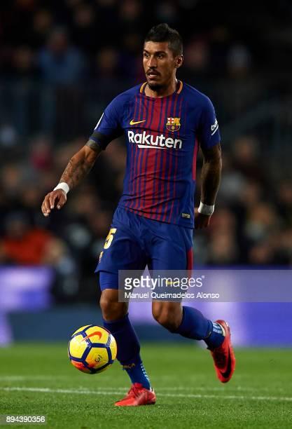 Paulinho of Barcelona runs with the ball during the La Liga match between Barcelona and Deportivo de La Coruna at Camp Nou on December 17 2017 in...
