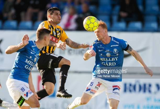 Paulinho of BK Hacken and Lasse Nielsen of Trelleborgs FF competes for the ball during the Allsvenskan match between Trelleborgs FF and BK Hacken at...