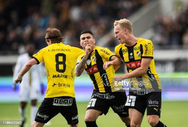 Paulinho of BK Hacken celebrates after scoring to 1-1 during the Allsvenskan match between BK Hacken and AIK at Bravida Arena on September 15, 2019...