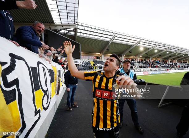 Paulinho of BK Hacken celebrates after the victory during the Allsvenskan match between BK Hacken and IFK Goteborg at Bravida Arena on May 2 2017 in...