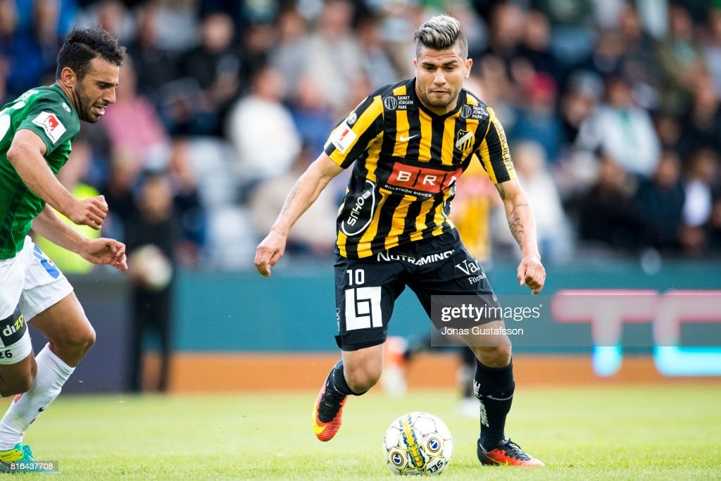 Paulinho of BK Hacken running with the ball during the allsvenskan match between Jonkopings Sodra and BK Hacken at Stadsparksvallen on July 17, 2017 in Jonkoping, Sweden.