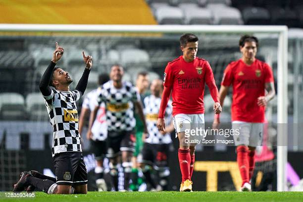 Paulinho of Boavista FC celebrates the victory at the end of the Liga NOS match between Boavista FC and SL Benfica at Estadio do Bessa Seculo XXI on...