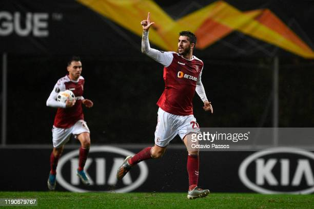 Paulinho of Braga celebrates after scoring his team's second goal during the UEFA Europa League group K match between Sporting Braga and...