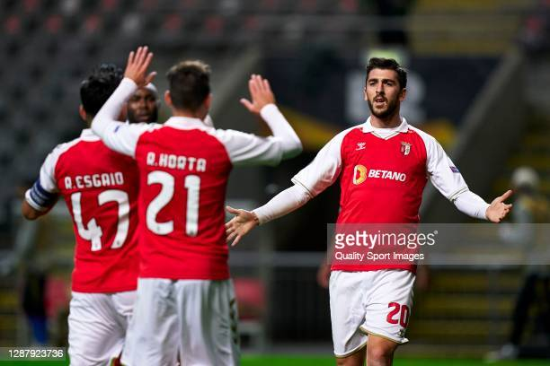 Paulinho of Braga celebrates after scoring his team's second goal during the UEFA Europa League Group G stage match between SC Braga and Leicester...