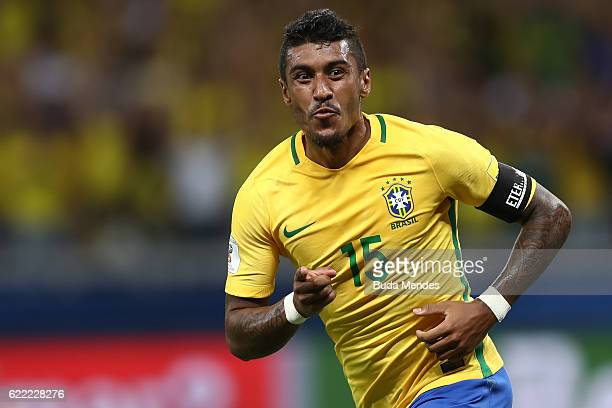 Paulinho of Brazil celebrates a scored goal during a match between Brazil and Argentina as part of 2018 FIFA World Cup Russia Qualifier at Mineirao...