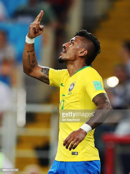 Paulinho of Brazil celebrates after he scores the opening goal during the 2018 FIFA World Cup Russia group E match between Serbia and Brazil at...