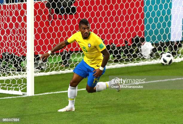 Paulinho of Brazil celebrates after scoring his team's first goal during the 2018 FIFA World Cup Russia group E match between Serbia and Brazil at...
