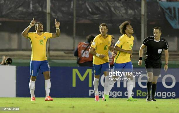 Paulinho of Brazil celebrates after scoring the fourth goal of his team during a match between Uruguay and Brazil as part of FIFA 2018 World Cup...
