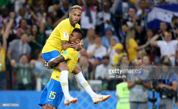Paulinho of Brazil celebrates his goal with Neymar Jr during the 2018 FIFA World Cup Russia group E match between Serbia and Brazil at Spartak...