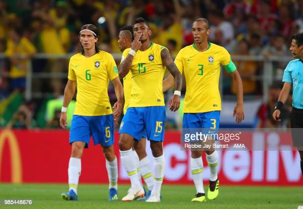 Paulinho of Brazil celebrates scoring a goal to make it 0-1 during the 2018 FIFA World Cup Russia group E match between Serbia and Brazil at Spartak...